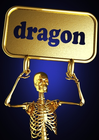 Golden skeleton holding the sign made in 3D photo