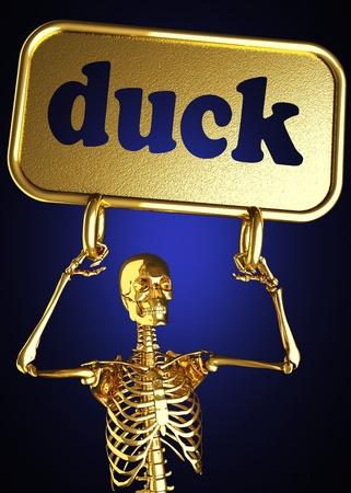 dead duck: Golden skeleton holding the sign made in 3D