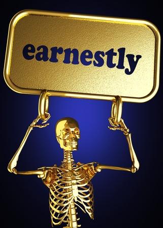 earnestly: Golden skeleton holding the sign made in 3D