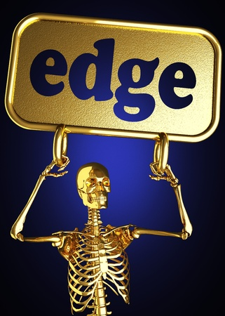 Golden skeleton holding the sign made in 3D Stock Photo - 13394725
