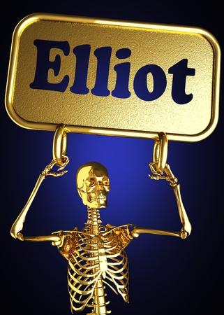 elliot: Golden skeleton holding the sign made in 3D