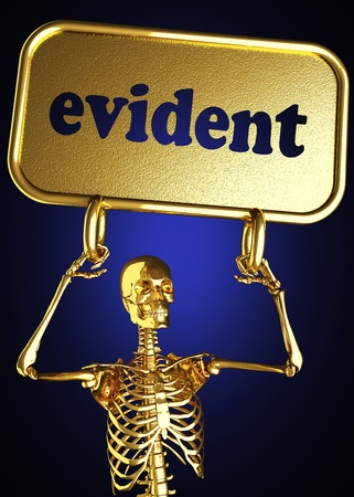 evident: Golden skeleton holding the sign made in 3D