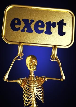 exert: Golden skeleton holding the sign made in 3D