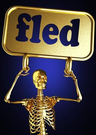 fled: Golden skeleton holding the sign made in 3D