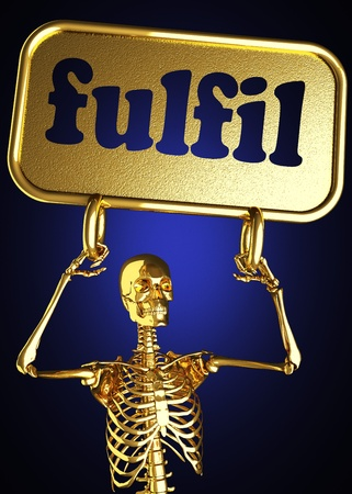 fulfil: Golden skeleton holding the sign made in 3D