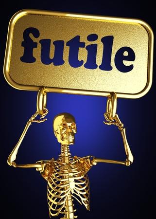 daremny: Złoty szkielet trzyma znak wykonany w 3D