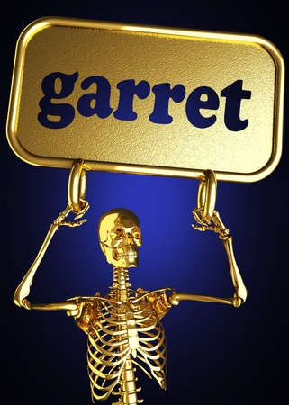 Golden skeleton holding the sign made in 3D Stock Photo - 13391561