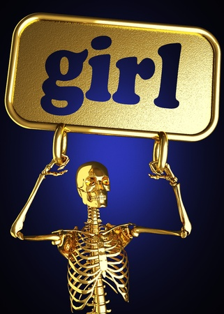 Golden skeleton holding the sign made in 3D Stock Photo - 13394430