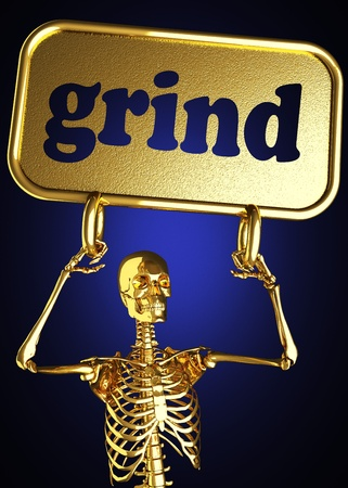 grinding teeth: Golden skeleton holding the sign made in 3D
