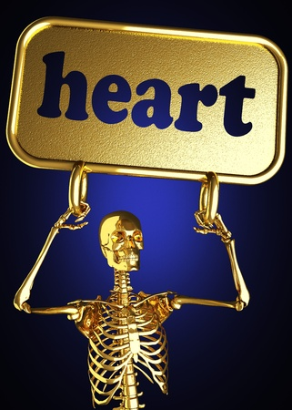 Golden skeleton holding the sign made in 3D Stock Photo - 13392137