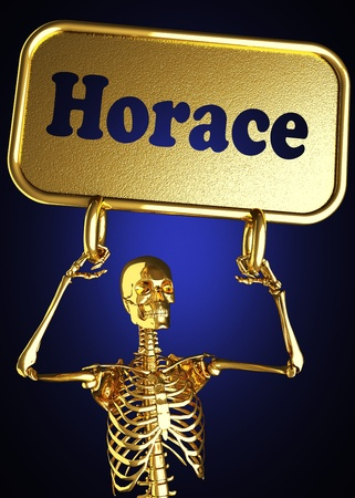 horace: Golden skeleton holding the sign made in 3D