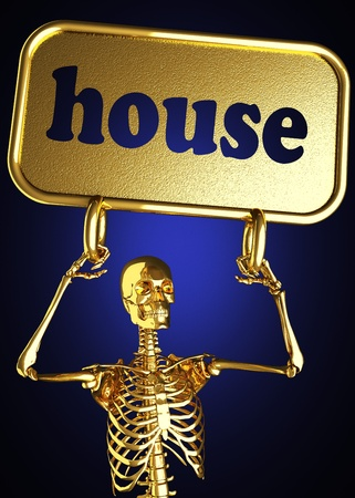 Golden skeleton holding the sign made in 3D Stock Photo - 13440961