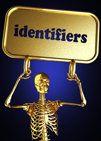 identifiers: Golden skeleton holding the sign made in 3D