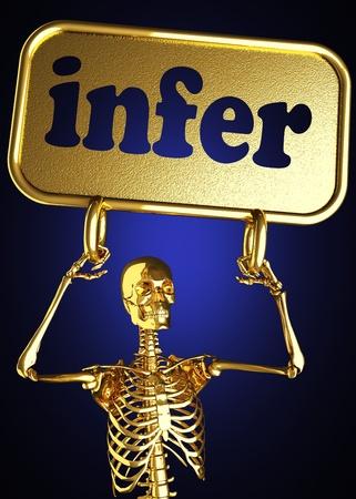 infer: Golden skeleton holding the sign made in 3D