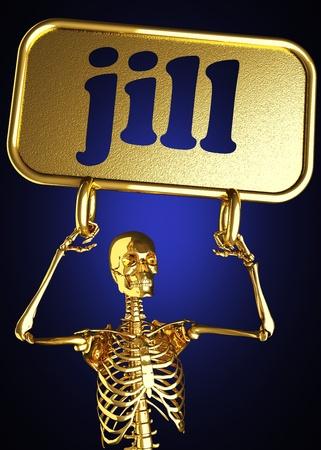 jill: Golden skeleton holding the sign made in 3D