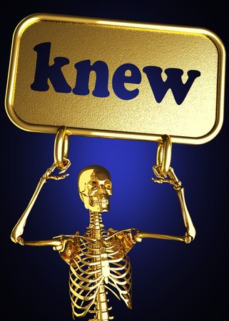 knew: Golden skeleton holding the sign made in 3D