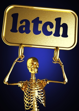 Golden skeleton holding the sign made in 3D Stock Photo - 13442868