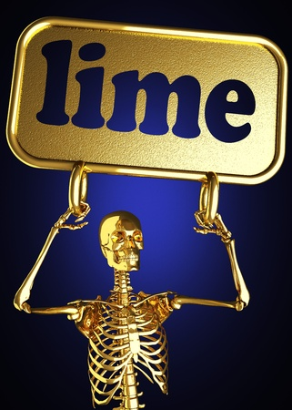 Golden skeleton holding the sign made in 3D Stock Photo - 13441887