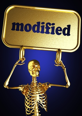 Golden skeleton holding the sign made in 3D Stock Photo - 13464698