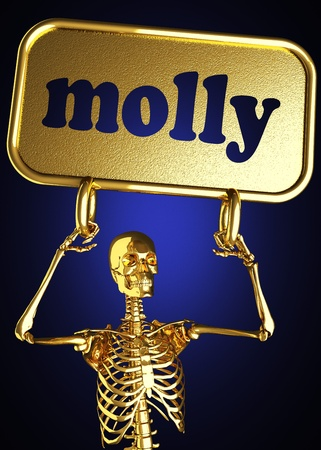 Golden skeleton holding the sign made in 3D Stock Photo - 13444459