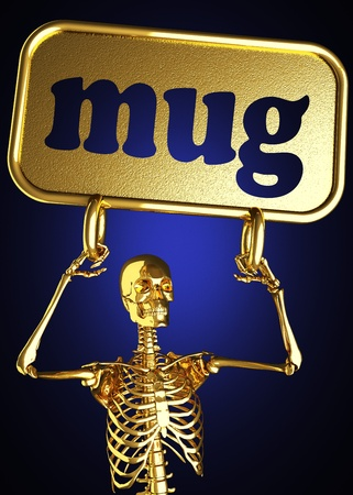 Golden skeleton holding the sign made in 3D Stock Photo - 13442498