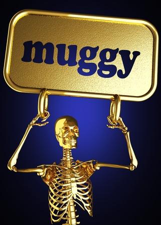 muggy: Golden skeleton holding the sign made in 3D