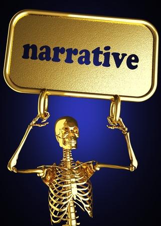 narrative: Golden skeleton holding the sign made in 3D
