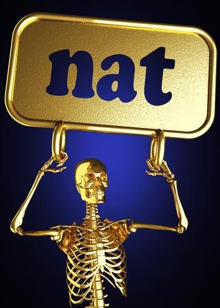 nat: Golden skeleton holding the sign made in 3D