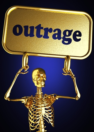 outrage: Golden skeleton holding the sign made in 3D
