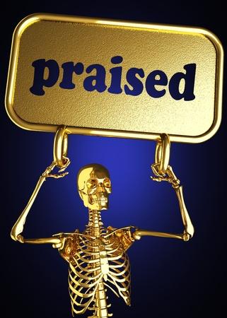 praised: Golden skeleton holding the sign made in 3D