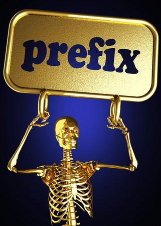 prefix: Golden skeleton holding the sign made in 3D