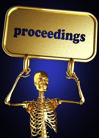 proceedings: Golden skeleton holding the sign made in 3D