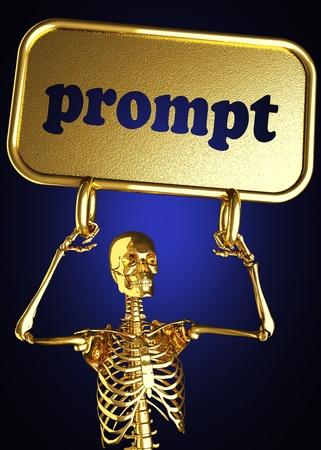 prompt: Golden skeleton holding the sign made in 3D