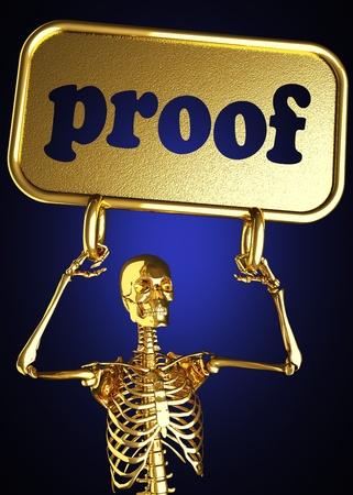 finger proof: Golden skeleton holding the sign made in 3D