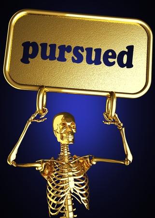 pursued: Golden skeleton holding the sign made in 3D
