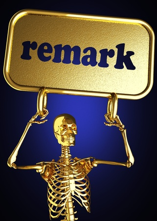 Golden skeleton holding the sign made in 3D Stock Photo - 13481034