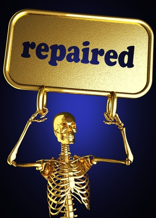 repaired: Golden skeleton holding the sign made in 3D