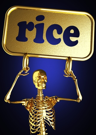 Golden skeleton holding the sign made in 3D Stock Photo - 13473576