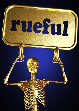rueful: Golden skeleton holding the sign made in 3D