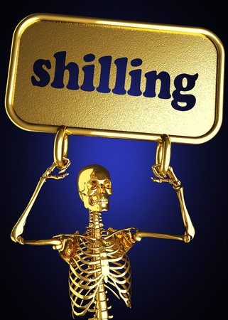 Golden skeleton holding the sign made in 3D Stock Photo - 13479634