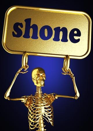 ghostlike: Golden skeleton holding the sign made in 3D