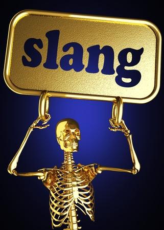 slang: Golden skeleton holding the sign made in 3D