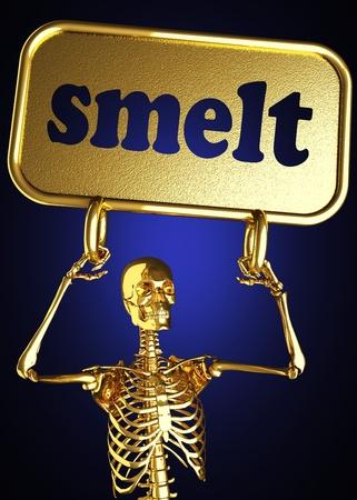 smelt: Golden skeleton holding the sign made in 3D