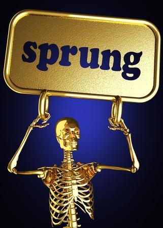 sprung: Golden skeleton holding the sign made in 3D