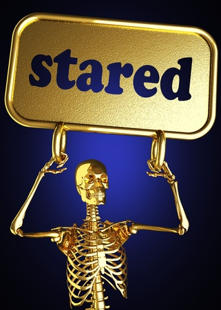 stared: Golden skeleton holding the sign made in 3D