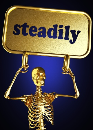 steadily: Golden skeleton holding the sign made in 3D