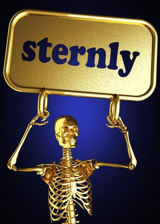 sternly: Golden skeleton holding the sign made in 3D