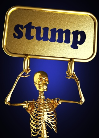 Golden skeleton holding the sign made in 3D Stock Photo - 13476169