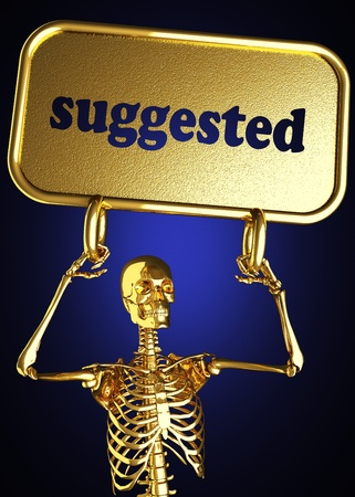 suggested: Golden skeleton holding the sign made in 3D