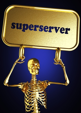 Golden skeleton holding the sign made in 3D Stock Photo - 13482857